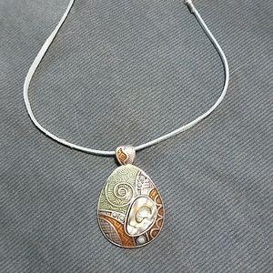 Lia Sophia Abalone Shell Pendant Necklace